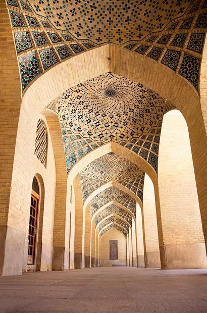 Pasage with pillars of Prayer Hall